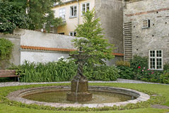Courtyard with a fountain Royalty Free Stock Images
