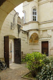 Courtyard and front door. Chinon. France Stock Images