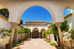 Courtyard garden in Alcazaba Palace, Malaga, Andalusia, Spain. Stock Photos
