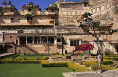 Courtyard garden, Bundi Palace, India Royalty Free Stock Photo