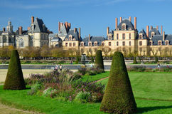 Courtyard and garden of Fontainebleau Royalty Free Stock Photo