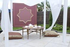 Courtyard garden picnic stock image