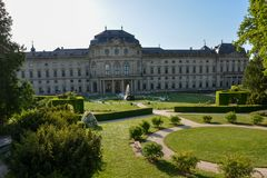 The courtyard garden at the Wuerzburg residence on a sunny day. And blue sky Royalty Free Stock Images