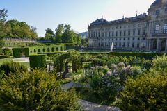 The courtyard garden at the Wuerzburg residence on a sunny day. And blue sky Royalty Free Stock Photo