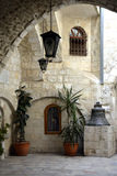 Courtyard of the Greek Patriarchate of Jerusalem, Christian Quarter, Old City. Architectural details of the inner courtyard of the Greek Patriarchate Stock Image