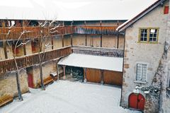 Courtyard of Gruyeres Castle winter stock images