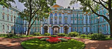 Courtyard of the Hermitage in St. Petersburg. Stitched Panorama courtyard of the Hermitage in St. Petersburg Stock Photography