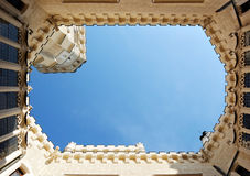 Courtyard of Hluboka castle. Unusual view to the sky. Stock Photography