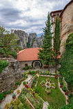 Courtyard of the Holy Monastery of Rousanou in Greece Royalty Free Stock Photos