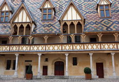 Courtyard of Hospices de Beaune Stock Photos