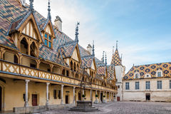 Courtyard of Hospices de Beaune Royalty Free Stock Photography