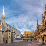 Courtyard of the Hospices de Beaune. Royalty Free Stock Image