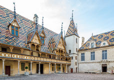 Courtyard of the Hospices de Beaune. Royalty Free Stock Photography