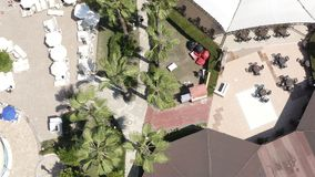 In the courtyard of the hotel, sidewalks by the pool are planted with palm trees and grass