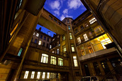 Courtyard of a house at night. Saint-Petersburg. Russia. Royalty Free Stock Photos