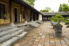 Courtyard of imperial city citadel in Hue, Vietnam royalty free stock photography