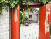 Courtyard with incense burner stock images