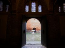 Courtyard inside the Basilica of Santo Stefano, seven Churches in Bologna, Italy stock images