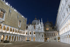 Courtyard inside the Doges palace at night in Venice, Italy. Stock Photos
