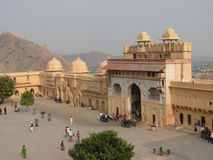 Courtyard and interior of  Amber Fort, Stock Photo