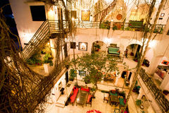 Courtyard interior of old tropical hotel Royalty Free Stock Images