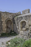 Courtyard at Kales Fort in Lerapetra Royalty Free Stock Photos
