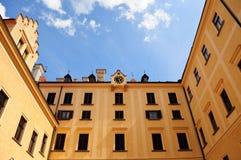 Courtyard of Konopiste Castle. Over blue sky Royalty Free Stock Photos