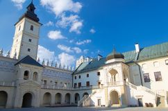Courtyard of Krasiczyn Castle near Przemysl, Poland royalty free stock photo