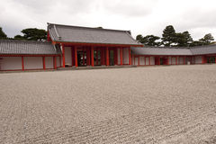 Courtyard, Kyoto's Imperial Palace, Japan. The court yard of Kyoto's Imperial Palace, Japan, with raked gravel grooves Royalty Free Stock Photography