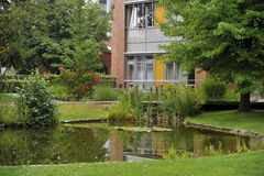 Courtyard landscape of modern residential building Stock Photography
