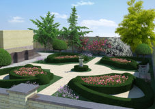 Courtyard Landscaping Classic Style, 3D Rendering. Three dimensional visualization of classic style courtyard Royalty Free Stock Images