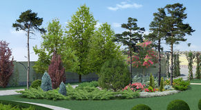 Courtyard Landscaping Scenery Style, 3D Rendering. Three dimensional illustration of homestead landscaping Royalty Free Illustration