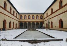 Courtyard and lap pool at  Milan`s Castello Sforzesco, Lombardy,. Italy Stock Photos