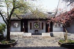 Courtyard at the Lion's Grove garden, Suzhou stock images