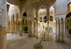 Courtyard of the Lions in night time, Alhambra Stock Images