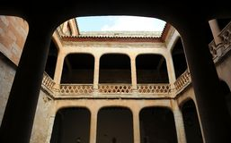 Courtyard of the magnificent Castle of Buen Amor in Topas, Salamanca, Spain Royalty Free Stock Photos
