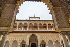 Courtyard Maidens Arches Alcazar Royal Palace Seville Spain Stock Image