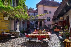 Courtyard in historic center in Tallinn Royalty Free Stock Photography