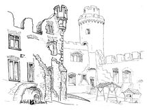 Free Courtyard Medieval Castle Hand Drawn Stock Photography - 16322212