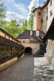 A courtyard of medieval castle. In Slovakia royalty free stock photos