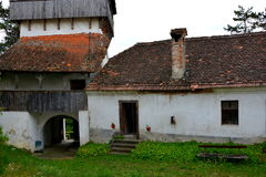 Courtyard of the medieval fortified church in Ungra, Transylvania Royalty Free Stock Photo
