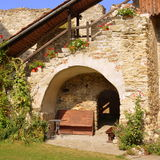 Courtyard of the medieval fortified saxon church in Calnic, Transylvania Royalty Free Stock Photography