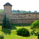 Courtyard of the medieval fortified saxon church in Calnic, Transylvania Stock Photography