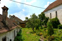 Courtyard of the medieval fortified saxon church in Ungra, Transylvania Royalty Free Stock Photo
