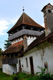 Courtyard of the medieval fortified saxon church in Ungra, Transylvania Stock Images