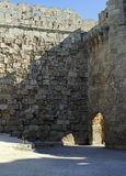 Courtyard medieval fortress on the island of Rhodes in Greece Stock Photos