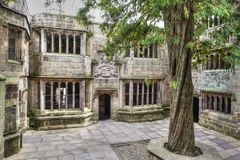 Courtyard of a medieval Skipton Castle, Yorkshire, United Kingdom. Skipton Castle is a medieval castle in Skipton, North Yorkshire, England. It was built in Stock Photo