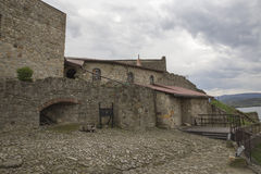 Courtyard of medieval stone Castle Royalty Free Stock Images
