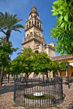 Courtyard of Mezquita (Mosque) and Cathedral bell tower, Cordoba Royalty Free Stock Image