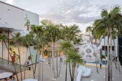 Courtyard in Midtown Miami. MIAMI, FL - DECEMBER 31 2014 - Miami's central art district in the Wynwood and Edgewater neighborhoods features an urban mall with Stock Photo